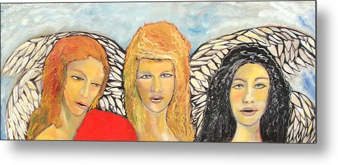 Angels Metal Print featuring the painting Song of the Sisters by J Bauer