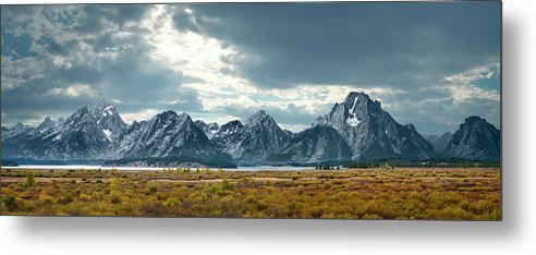 Scenics Metal Print featuring the photograph Grand Tetons In Dramatic Light by Ed Freeman