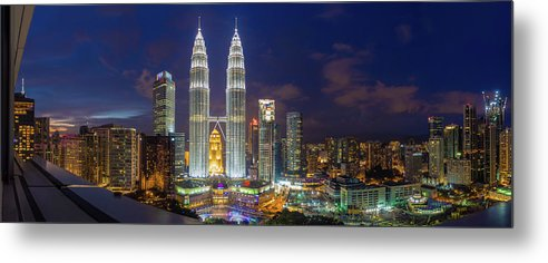 Panoramic Metal Print featuring the photograph Panoramic View Of Petronas Twin Towers by Www.imagesbyhafiz.com