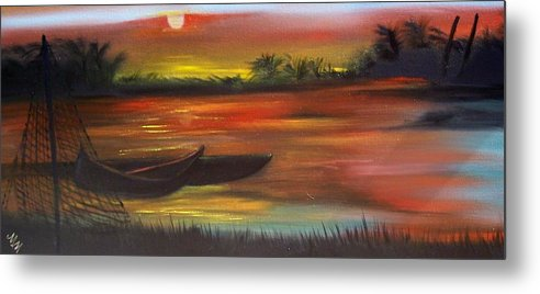 Sunset Metal Print featuring the painting African Sunset by Martha Mullins