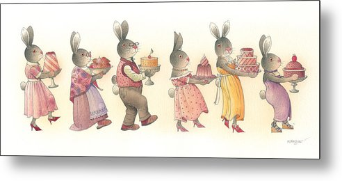 Rabbit Birthday Delicious Animal Holiday Food Metal Print featuring the painting Rabbit Marcus the Great 11 by Kestutis Kasparavicius