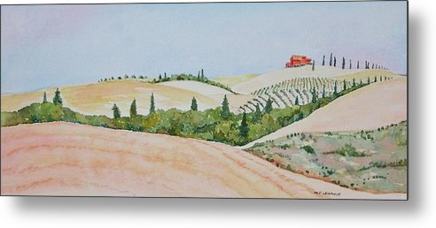 Landscape Metal Print featuring the painting Tuscan Hillside One by Mary Ellen Mueller Legault