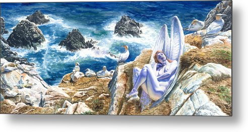 Women Metal Print featuring the painting At Rest by Ken Meyer jr