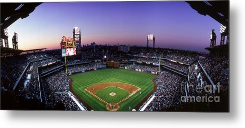 Panoramic Metal Print featuring the photograph Montreal Expos V Philadelphia Phillies by Jerry Driendl