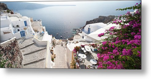 Greek Culture Metal Print featuring the photograph Oia In Santorini, Greece by David Clapp
