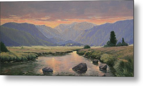 Landscape Metal Print featuring the painting 080818-1224 Day Slipping Into Dusk by Kenneth Shanika