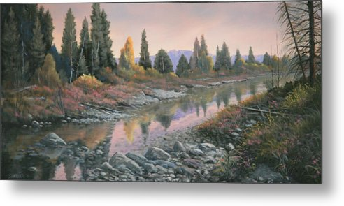 Water Metal Print featuring the painting 100501-1224 Autumn Reflections by Kenneth Shanika