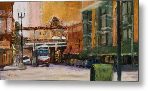 Bus Metal Print featuring the painting Bryn Mawr Edgewater El Stop by Nancy Albrecht