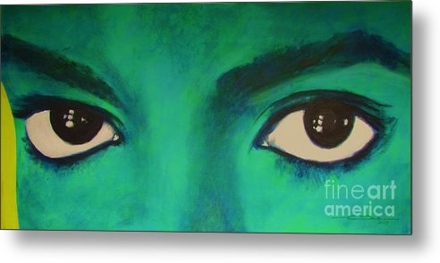 King Of Pop Metal Print featuring the painting Michael Jackson - Eyes by Eric Dee