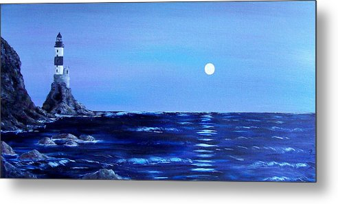 Seascape Metal Print featuring the painting Sakhalin Lighthouse by Tony Rodriguez