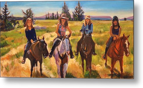 Horse Metal Print featuring the painting The Four Horsemen by Kaytee Esser