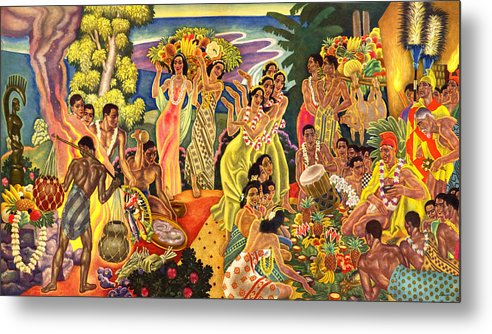 Hawaii Greeting Cards Metal Print featuring the painting Island Feast by James Temple