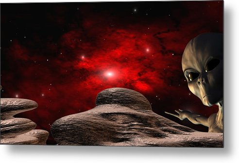 Space Metal Print featuring the digital art Alien Planet by Robert aka Bobby Ray Howle