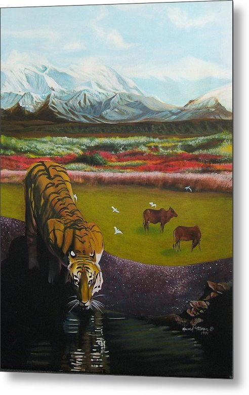 Tiger Metal Print featuring the painting Tiger by Howard Stroman
