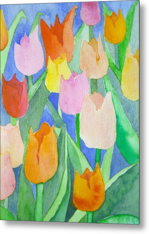 Tulips Metal Print featuring the painting Tulips Multicolor by Ingela Christina Rahm