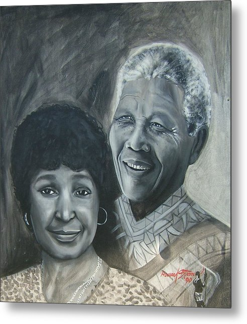 From Black & White Series Metal Print featuring the painting Nelson And Winnie by Howard Stroman