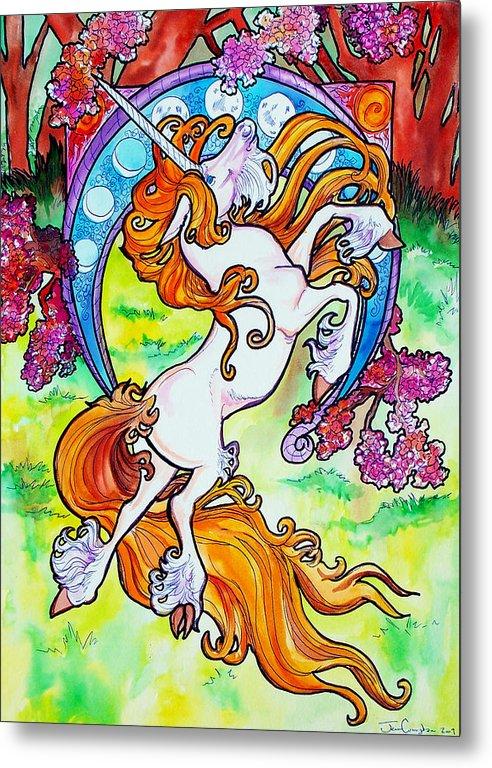 Unicorn Metal Print featuring the painting Artsy Nouveau Unicorn by Jenn Cunningham