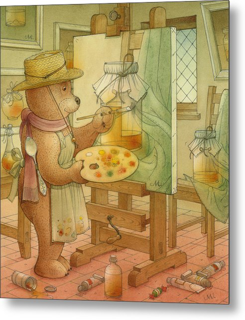 Artist Painting Bear Animals Honey Still-life Metal Print featuring the painting Artist by Kestutis Kasparavicius