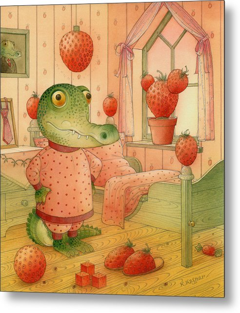 Strawberry Childrens Room Dream Metal Print featuring the painting Strawberry Day by Kestutis Kasparavicius