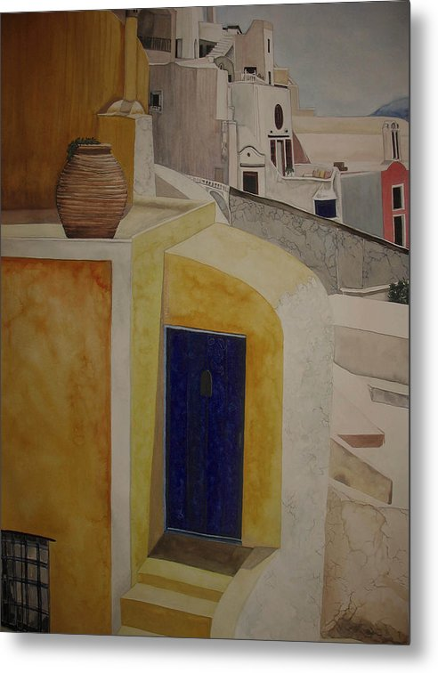 Watercolor Metal Print featuring the painting Greekscape 2 by Caron Sloan Zuger