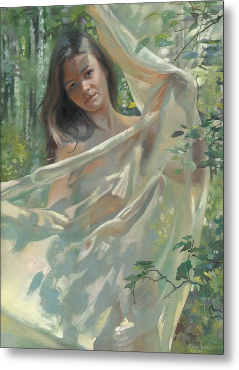 Girl Metal Print featuring the painting Light And Shadow 2010 by Denis Chernov