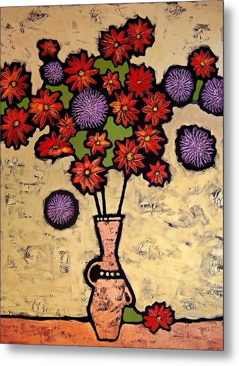 Still Life Metal Print featuring the painting Red And Purple by Farhan Abouassali