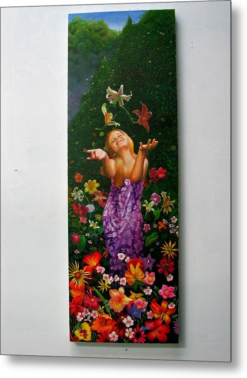 Joy/young Girl/ Flowers/outdoors/nature Metal Print featuring the painting Joyeuse by RC Bailey