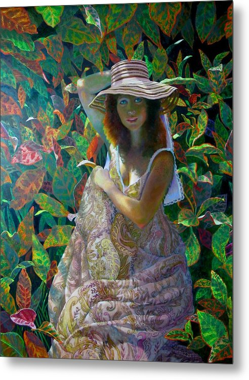 Figurative Metal Print featuring the painting The Garden by RC Bailey