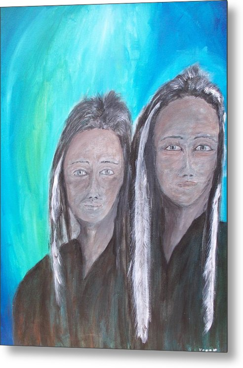 Native American Metal Print featuring the painting Ghost Twins by Larry Verch