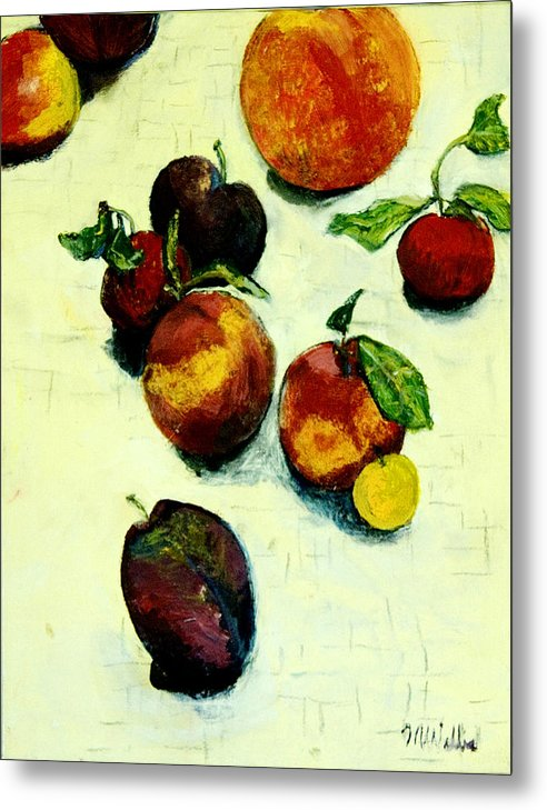 Still Life Metal Print featuring the painting Peaches And Plums by Marquita Willis