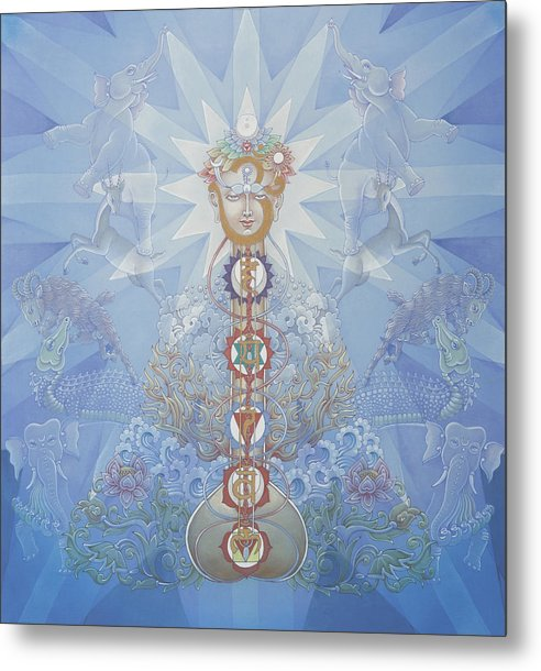 Chakras Metal Print featuring the painting Chakras And Elements by Pieter Weltevrede