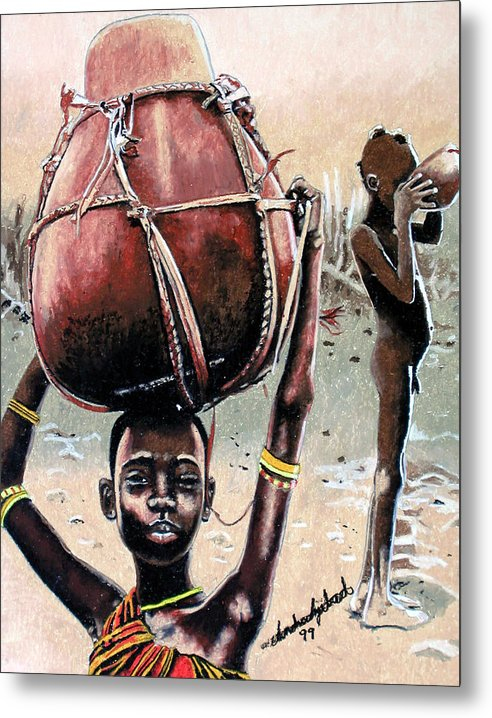 Black Art Metal Print featuring the painting Thirst Quencher by Andre Ajibade