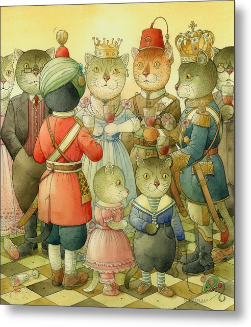 Cats Metal Print featuring the painting Coctail Party by Kestutis Kasparavicius