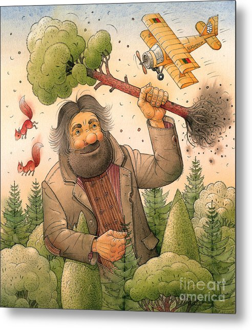 Giant Forest Landscape Tree Airplane Metal Print featuring the painting Giant by Kestutis Kasparavicius