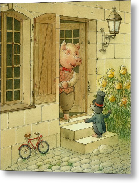 Singer Pig Mole Street Town Roses Animals Metal Print featuring the painting Singing Piglet by Kestutis Kasparavicius