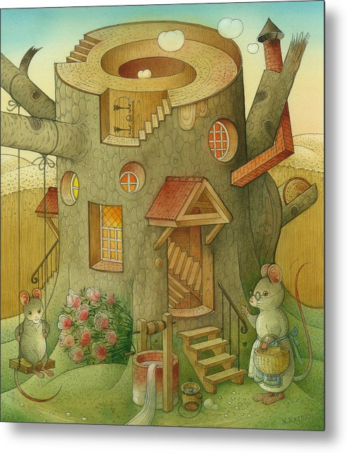 Landscape Mouse Mystique House Tree Metal Print featuring the painting Wrong World by Kestutis Kasparavicius
