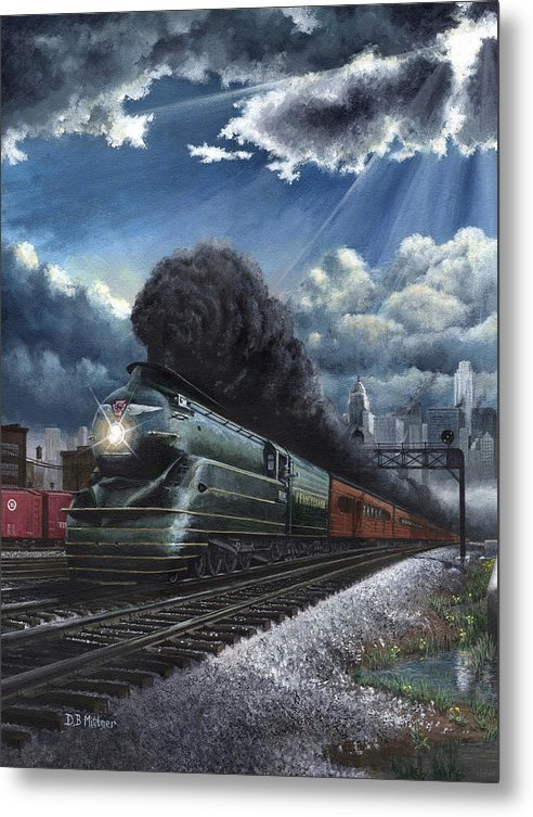 Train Metal Print featuring the painting Eastbound Broadway Limited by David Mittner