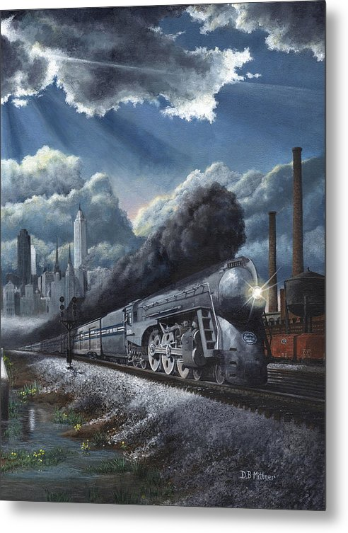 Train Metal Print featuring the painting Eastbound Twentieth Century Limited by David Mittner