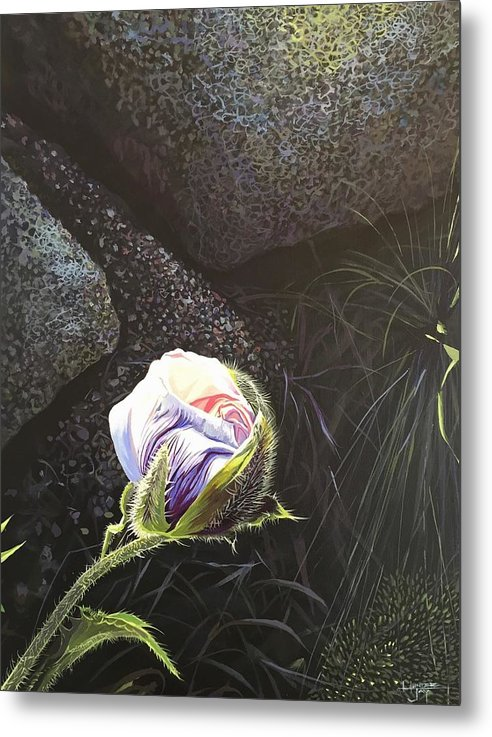 Poppy Metal Print featuring the painting Persistence by Hunter Jay