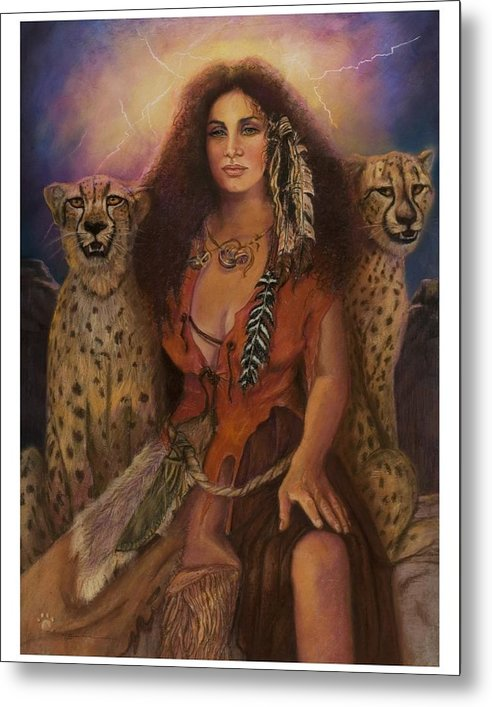 Lynx Cats Storm Lightening Beautiful Enchantress Of The Dark Forrest. Pastel Painting On Paper Indian Woman In Leather Clothing. Fantasy Pastel Painting Realistic Pastel Painting Enchantress Woman Chettahs Wild Cats Lighting Leather Clothing Metal Print featuring the pastel Enchantress Of The Forrest by Pamela Mccabe