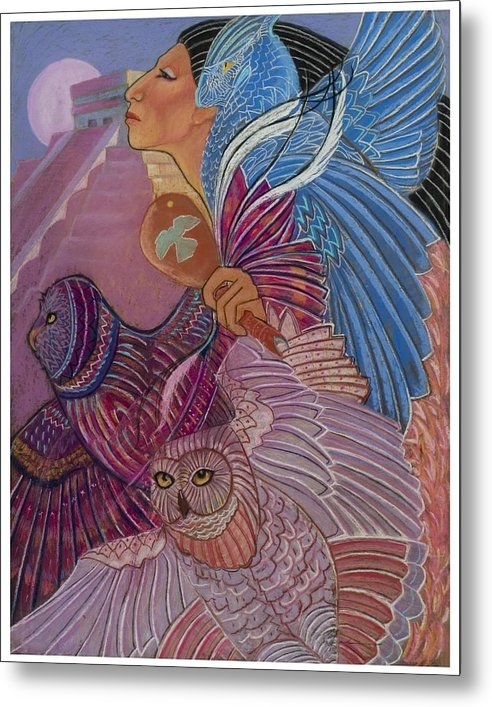 Mayan Woman With Her Owl Totoms At The Temple At Chichen Itza Central America Prymid Moon Shamaness Pastel Painting Fantasy Metal Print featuring the pastel Owl Woman At Chichen Itza by Pamela Mccabe