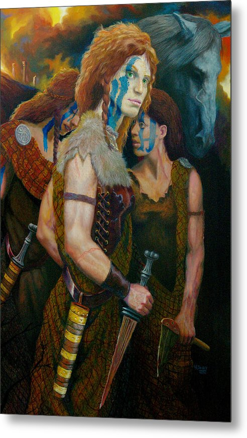 Historic Women Of Briton Metal Print featuring the painting Boudica by RC Bailey