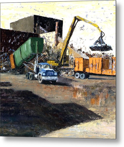 Trucks And Cranes At A Steel And Aluminum Recycling Center Chicago Industrial Corridor Metal Print featuring the painting The Blue Truck by Nancy Albrecht