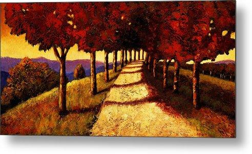 Impressionism Landscape Metal Print featuring the painting Autumn Avenue by Santo De Vita