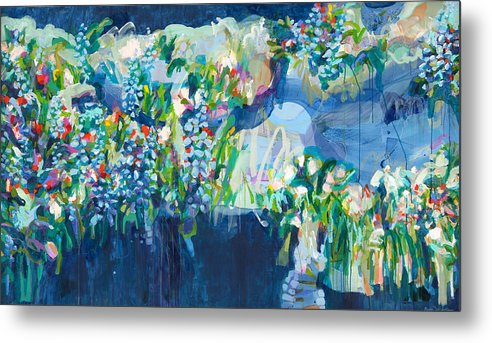 Abstract Metal Print featuring the painting Full Bloom by Claire Desjardins