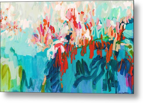 Abstract Metal Print featuring the painting What Are Those Birds Saying? by Claire Desjardins