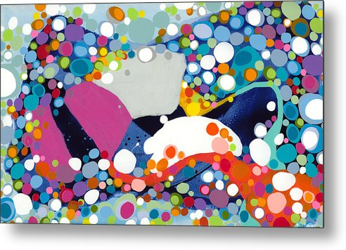 Abstract Metal Print featuring the painting On The Up And Up by Claire Desjardins