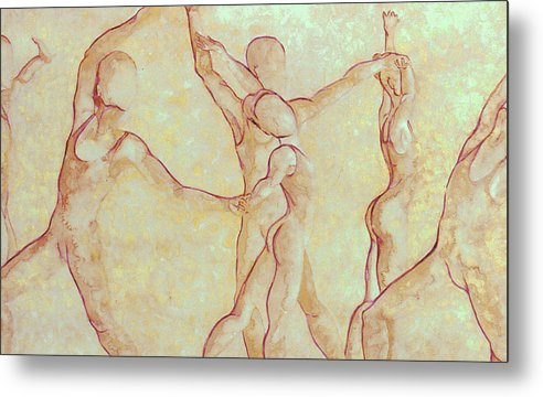 Watercolor Metal Print featuring the painting Dancers - 10 by Caron Sloan Zuger