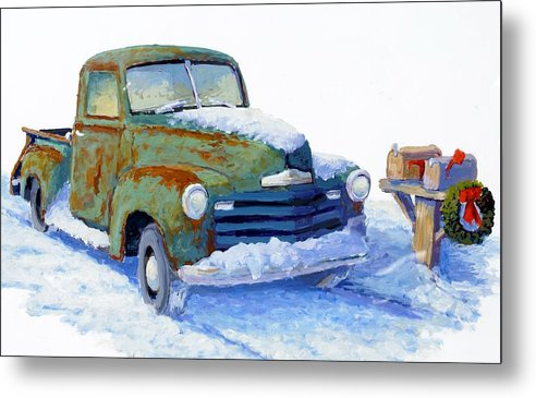 Old Truck Metal Print featuring the painting Jingle Bells by Bob Adams