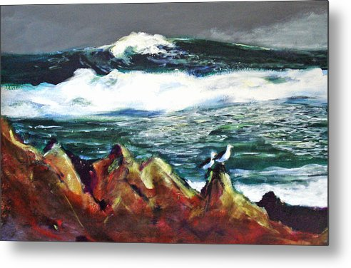 Seascape Metal Print featuring the painting Near Pacific Grove by Paul Miller